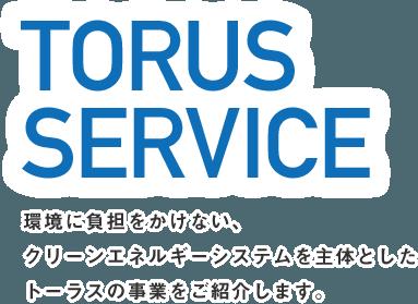 TORUS SERVICE 環境に負担をかけない、クリーンエネルギーシステムを主体としたトーラスの事業をご紹介します。