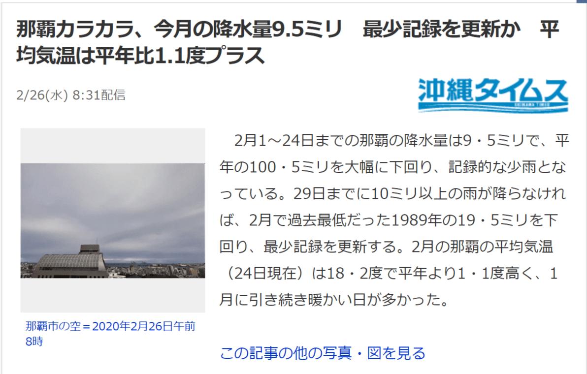 那覇 2月少雨、記録的な暖冬