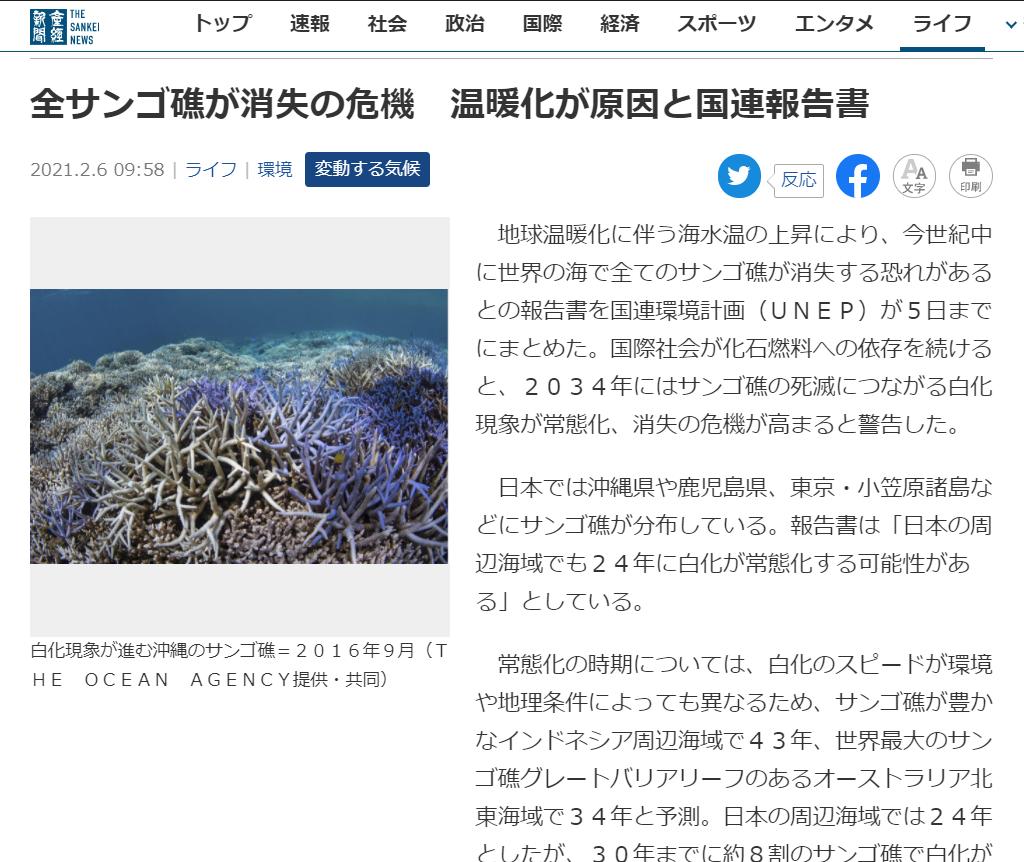 全サンゴ礁が消滅の危機